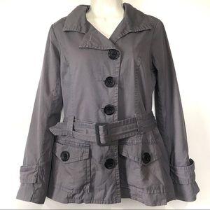 BB Dakota Gray Belted Trench Coat Utility Pockets